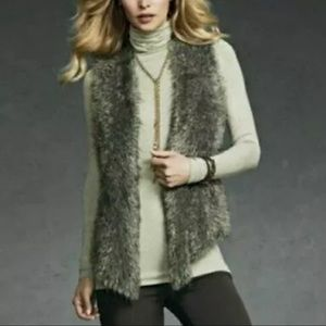 Cabi Brown Mohair Faux Fur Sweater Vest Style #180